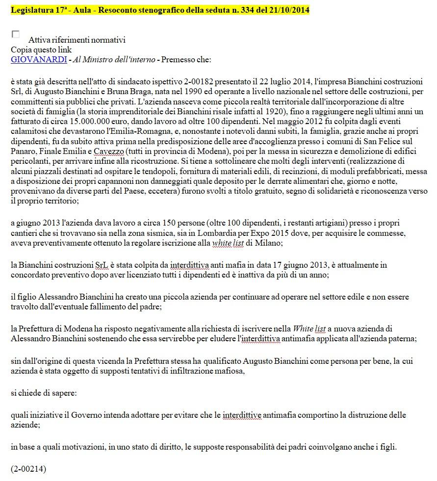 Interrogazione 21 ottobre 2014