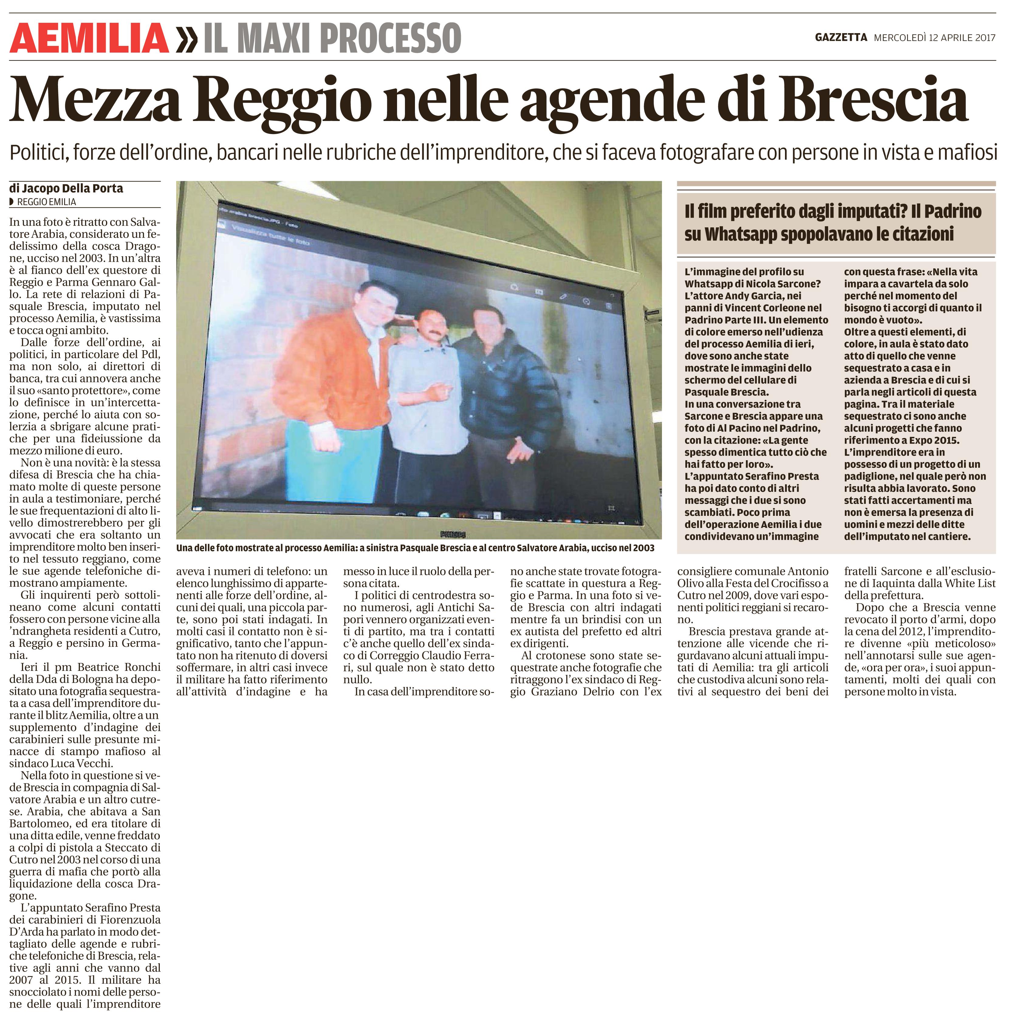 Mezza Reggio nelle agende di Brescia