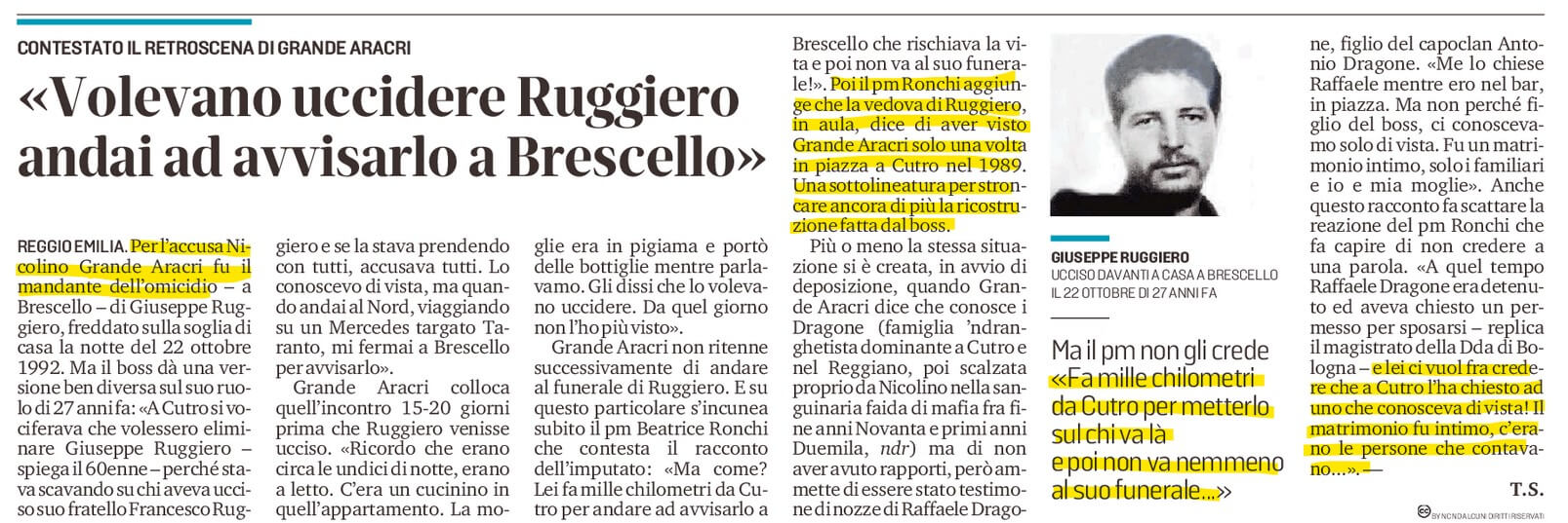 Grande Aracri: avvisai Ruggiero...