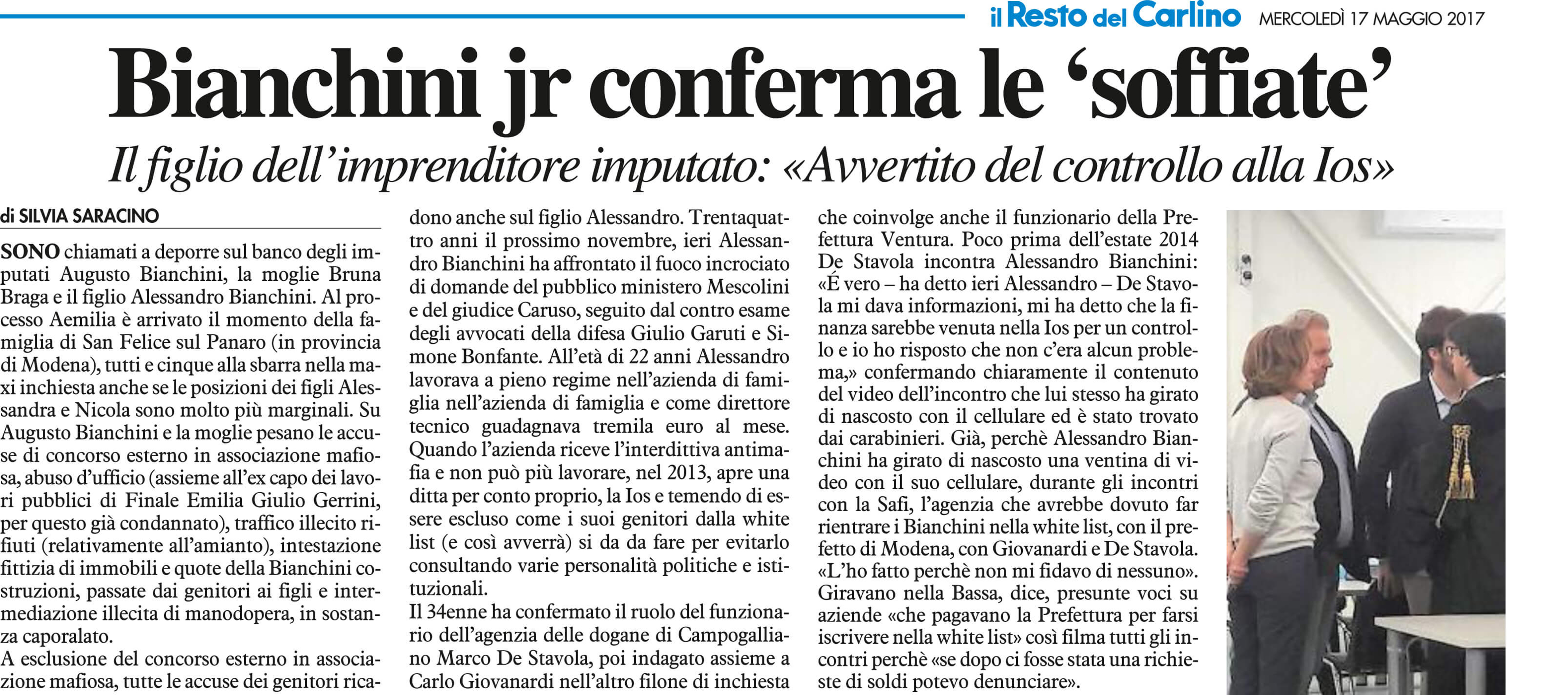Bianchini jr conferma le soffiate
