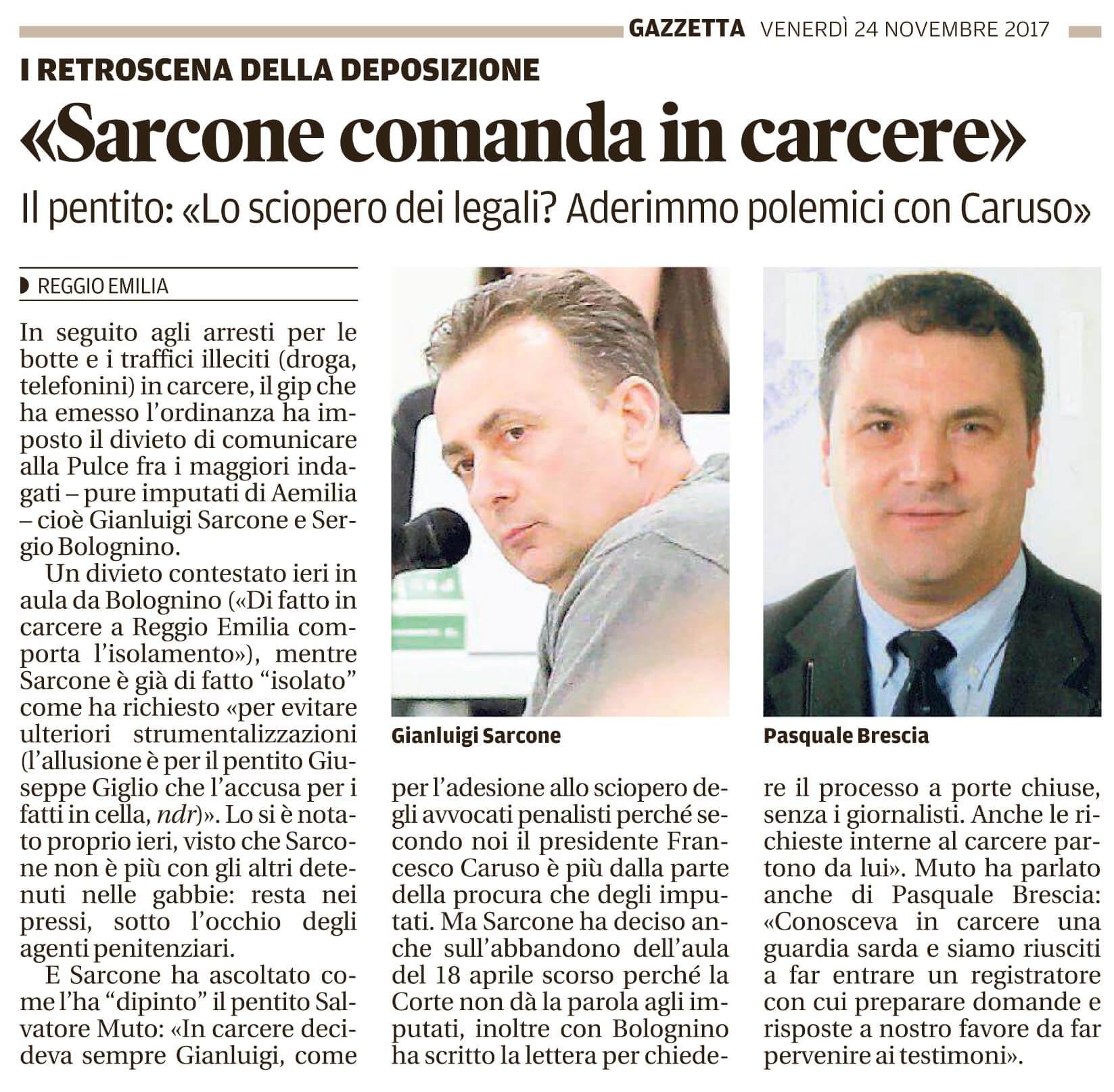 Sarcone comanda in carcere