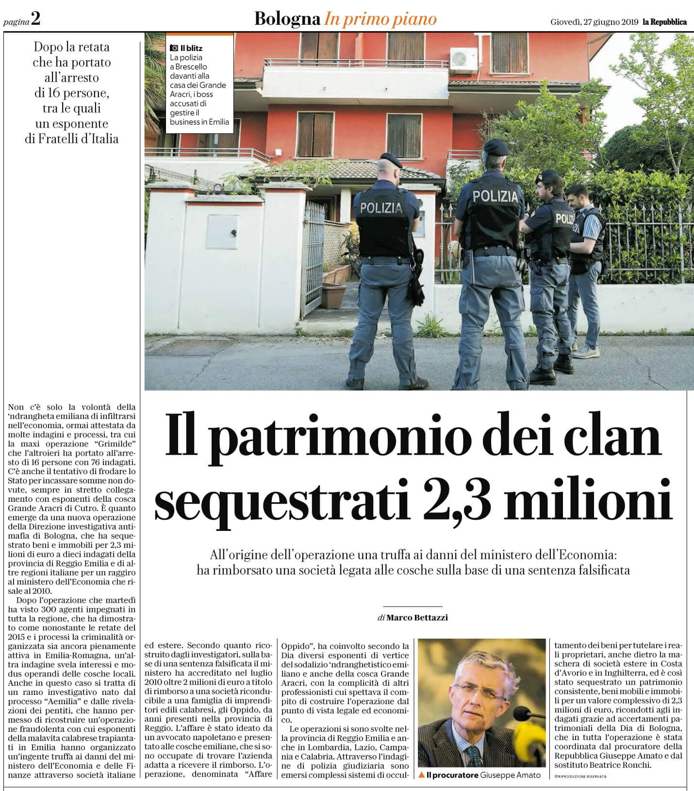 Sequestrati 2,3 milioni