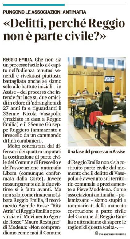 Perchè Reggio non è parte civile?