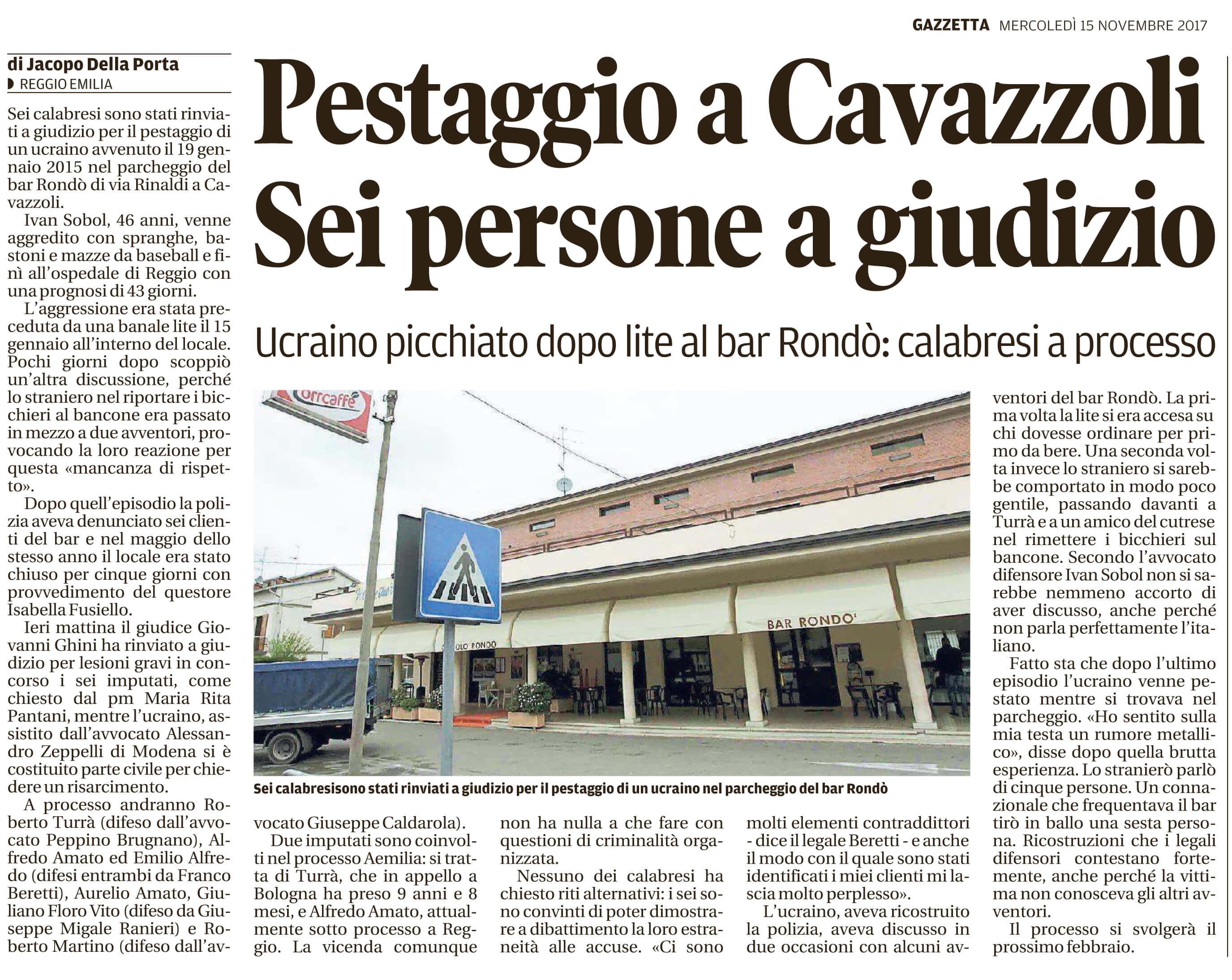 Pestaggio a Cavazzoli