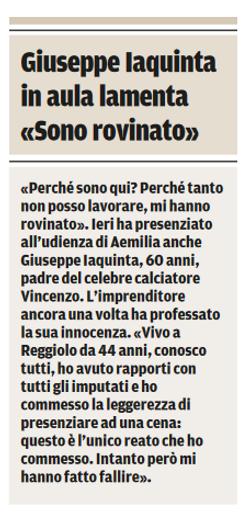 Giuseppe Iaquinta si lamenta