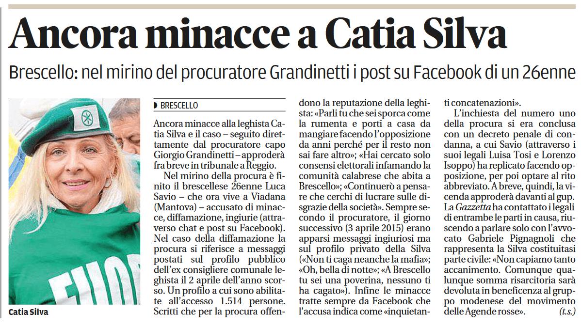 Ancora minacce a Catia Silva