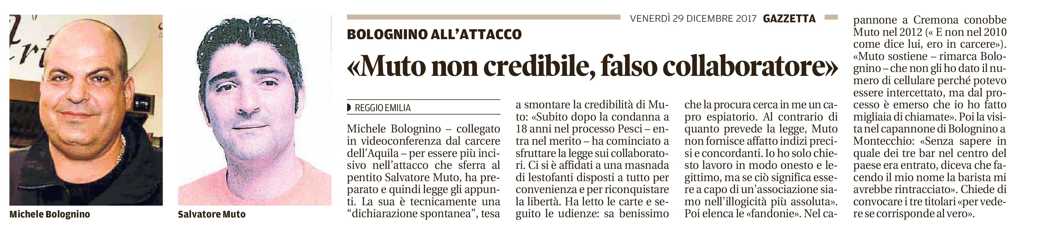 """Bolognino: """"Muto non credibile"""""""