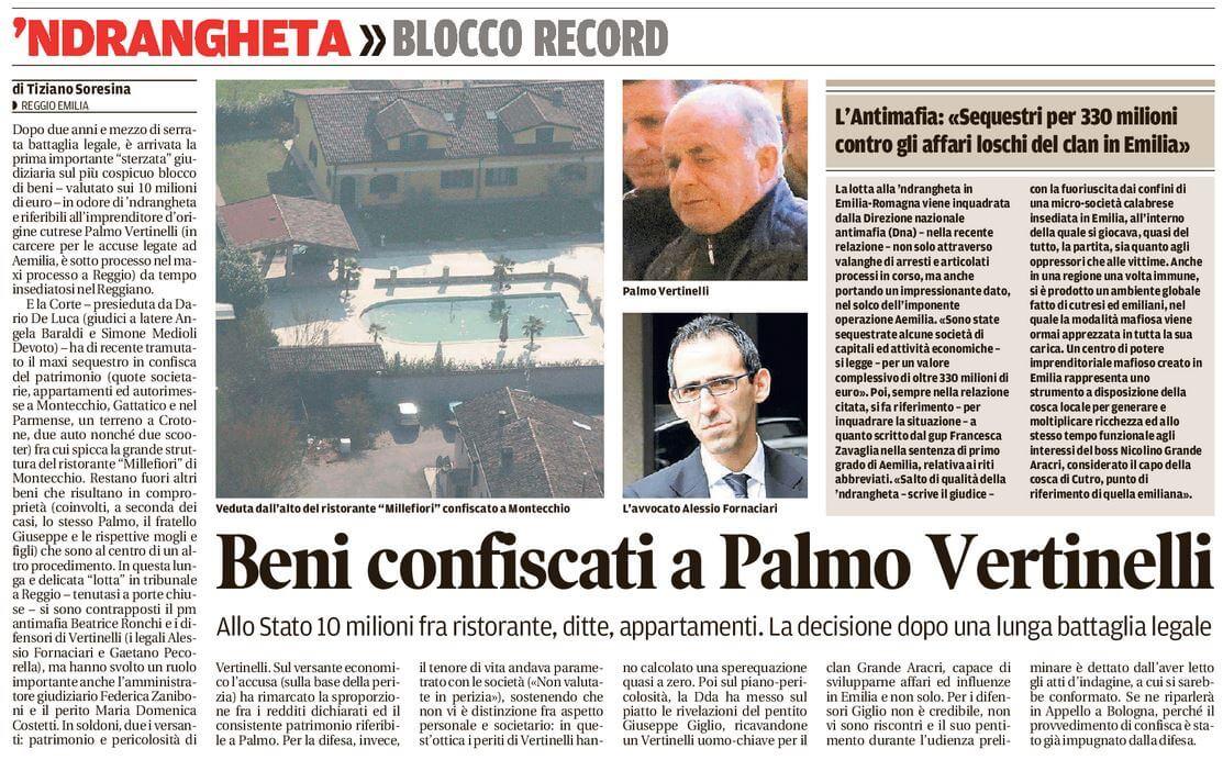 beni confiscati a Palmo Vertinelli