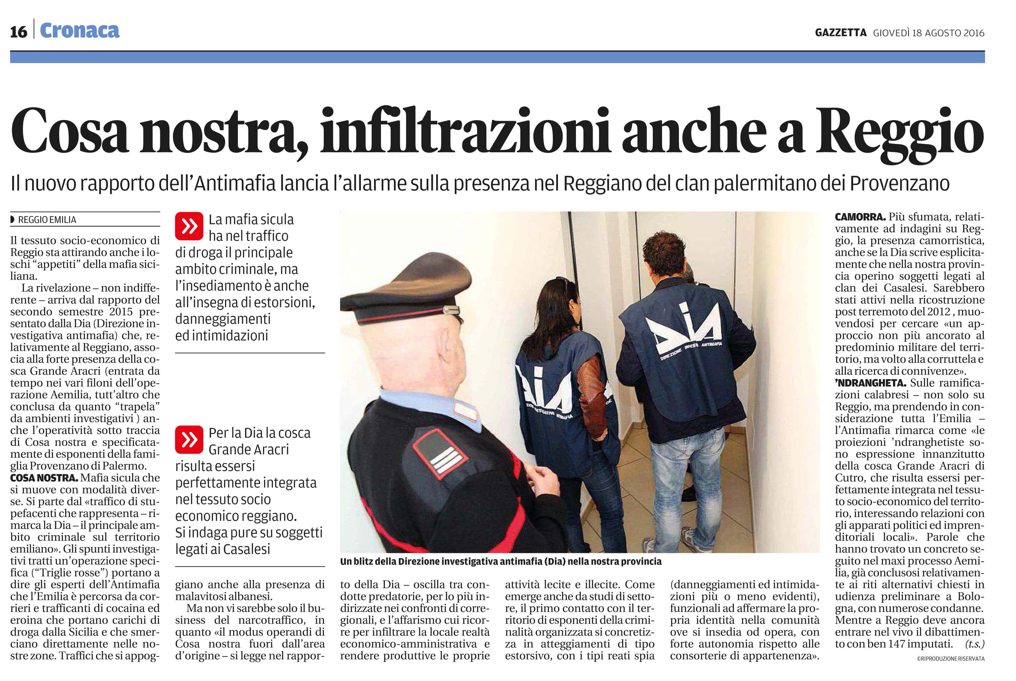 Cosa nostra, infiltrazioni a Reggio