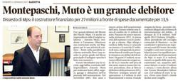 MPS, Muto è un grande debitore