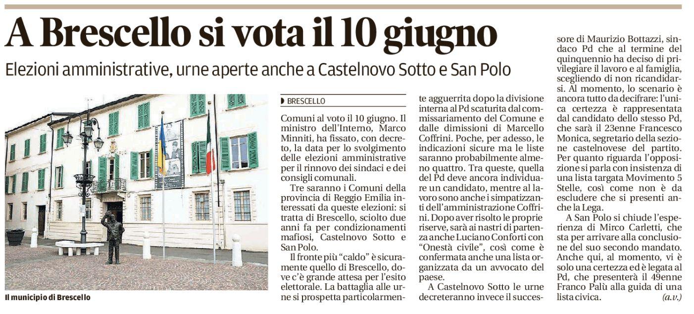 Il 10 giugno si vota a Brescello