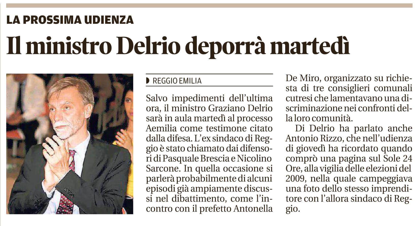 Delrio deporrà martedì