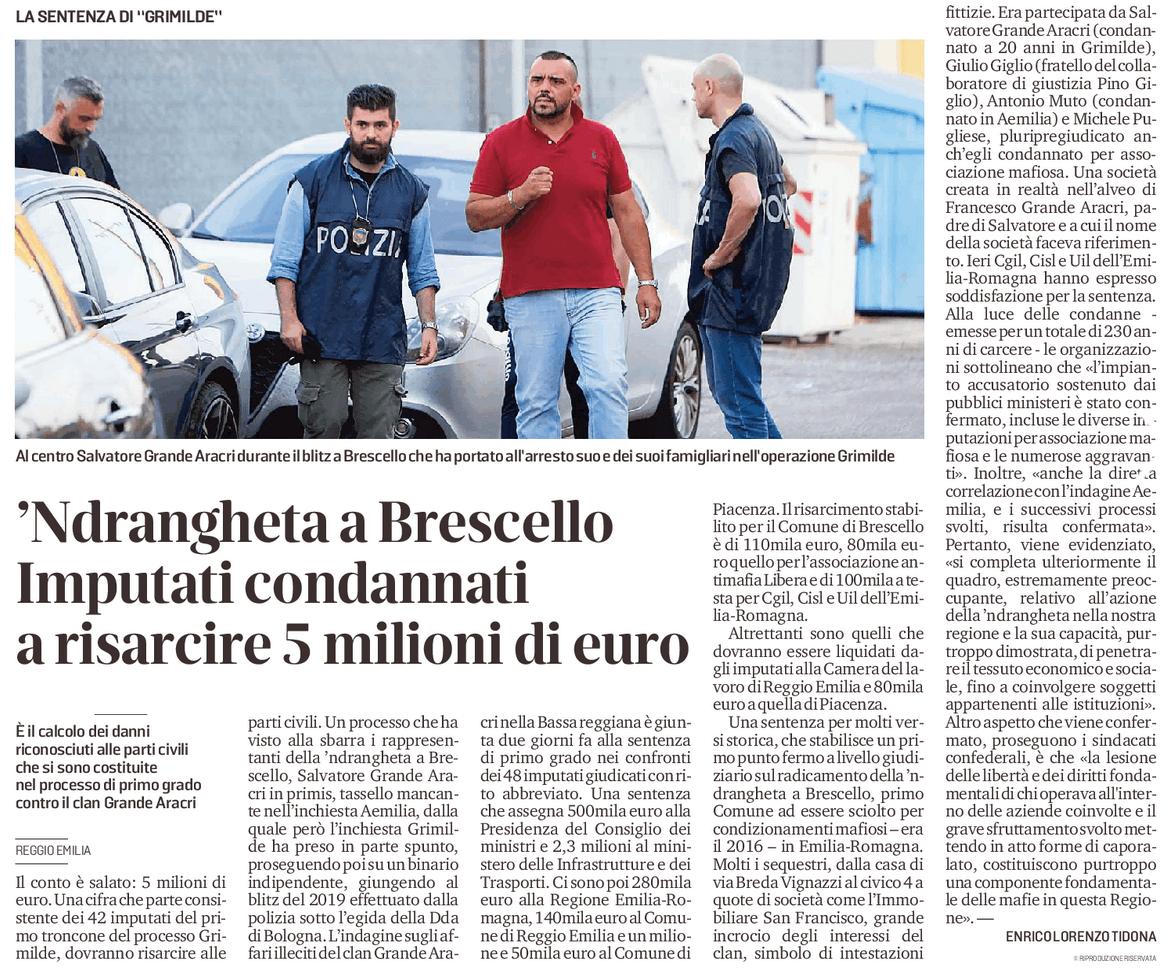 Imputati condannati a risarcire 5 milioni di euro