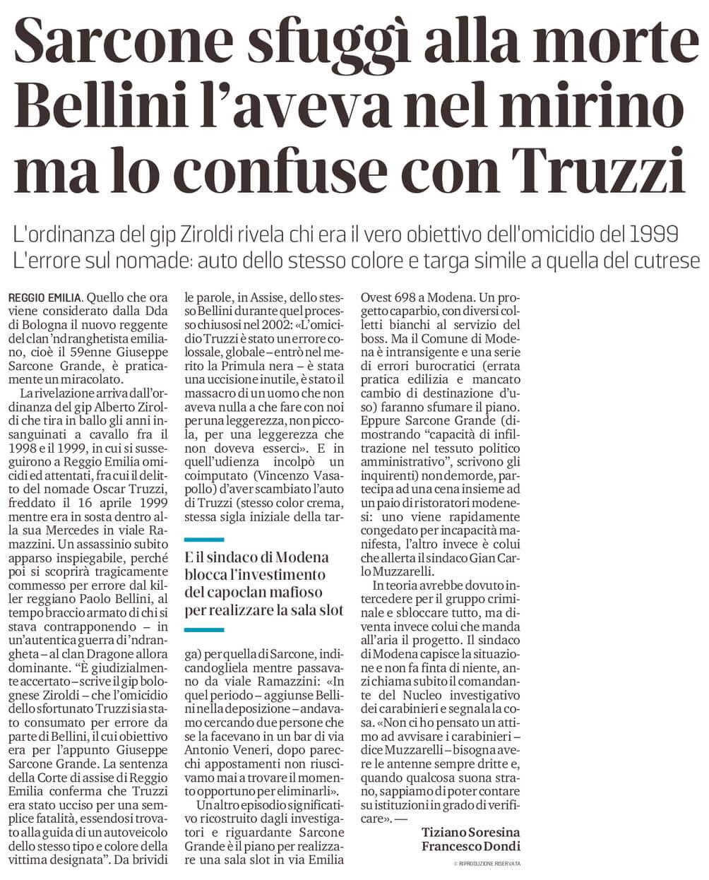 Sarcone sfuggì al killer Bellini