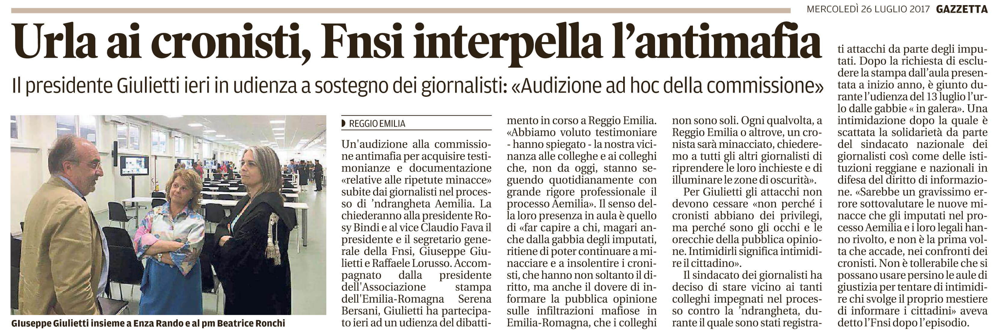 Fnsi interpella l'antimafia
