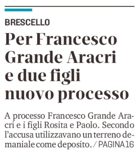 Nuovo processo per i Grande Aracri
