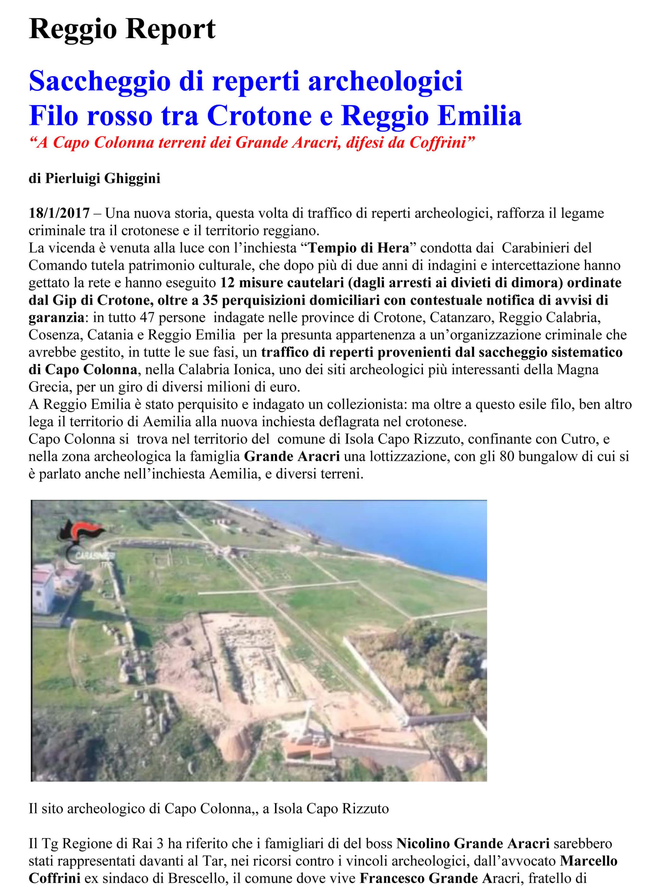 Filo rosso tra Crotone e Reggio