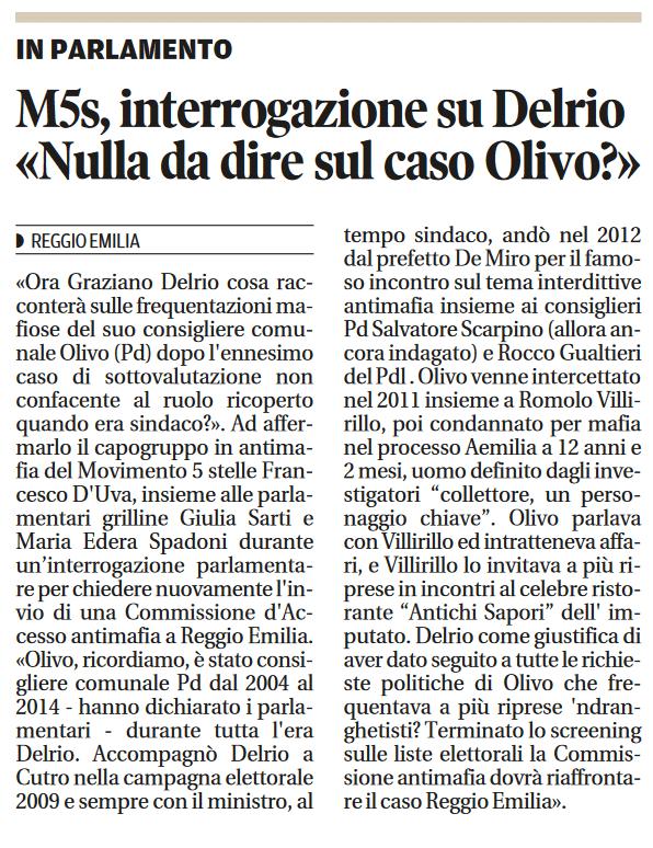 Nulla da dire sul caso Olivo?