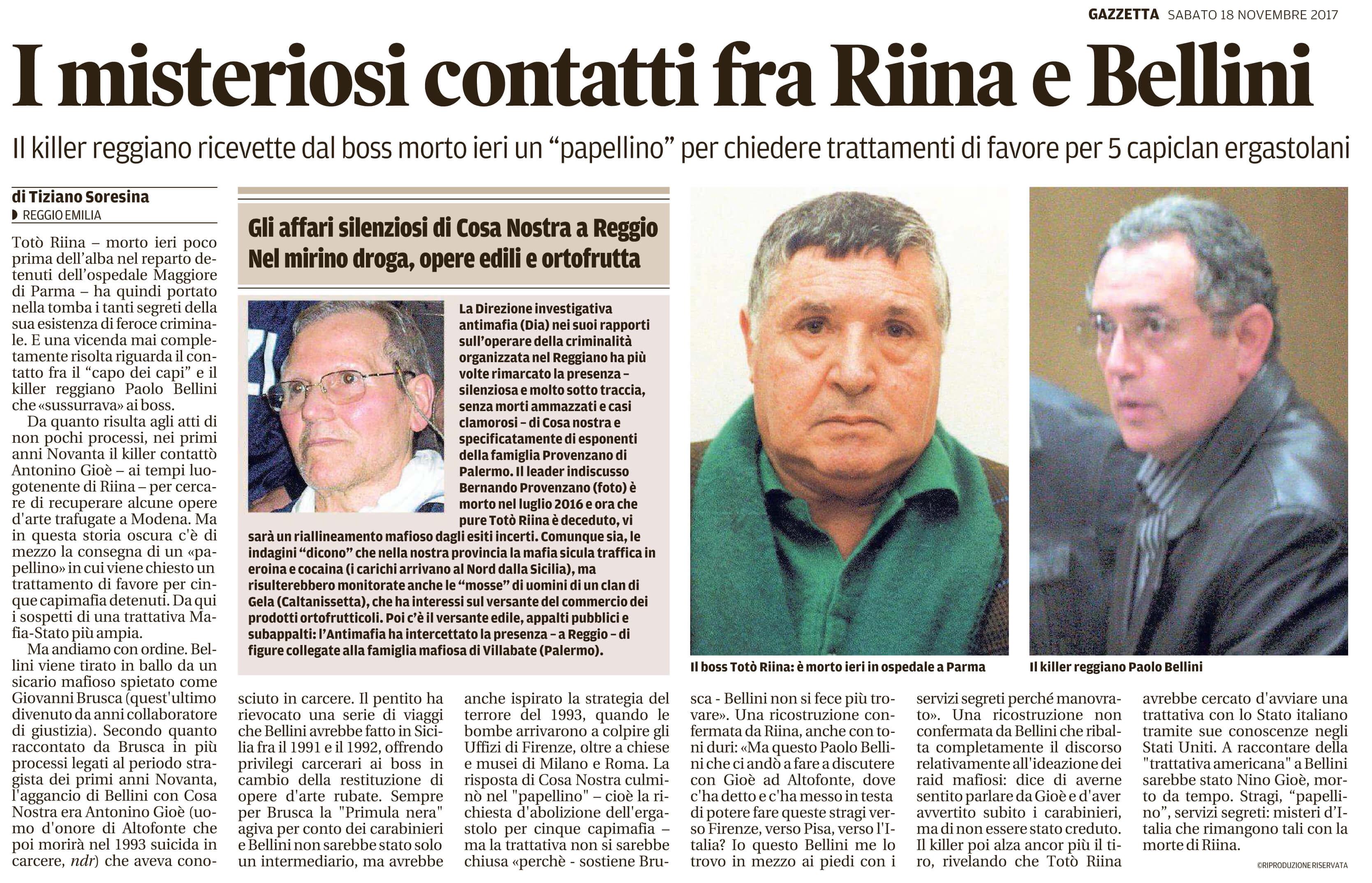 Contatti fra Riina e Bellini