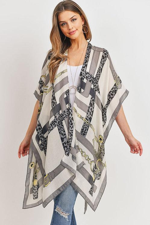 Hdf3177 - Leopard Line Fashion Open Front Kimono