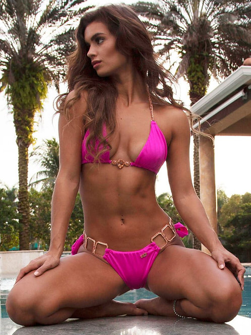 Tessa Triangle Top & Tie Side Bottom - Pink