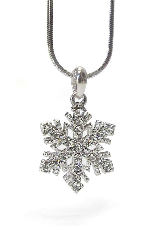 Silver Cz Cubic Zirconia Snowflake Winter Pendant Necklace Chain