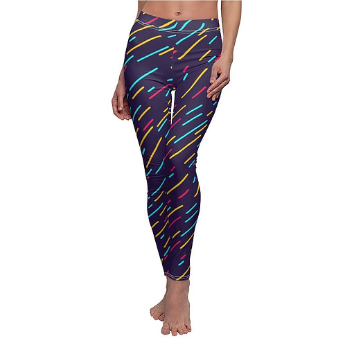 Abstract Color Lines Print Leggings