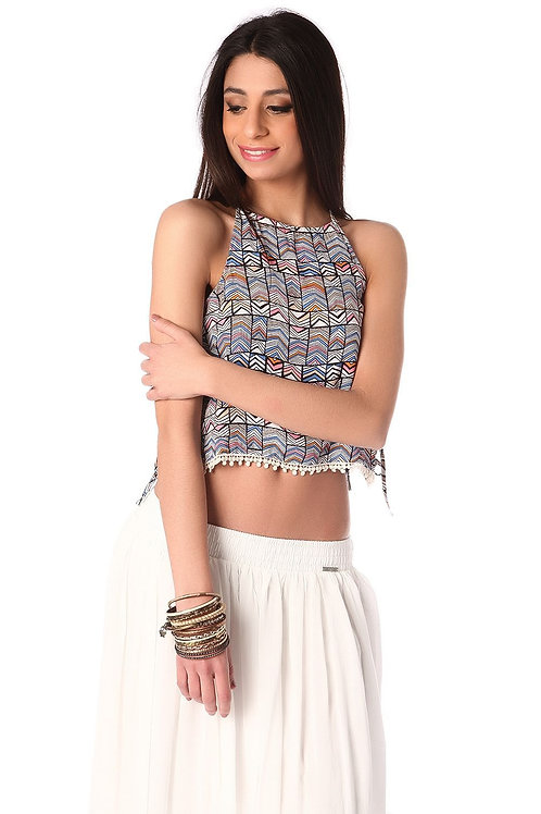 Pink Printed Crop Top With Lace Up Side Detail