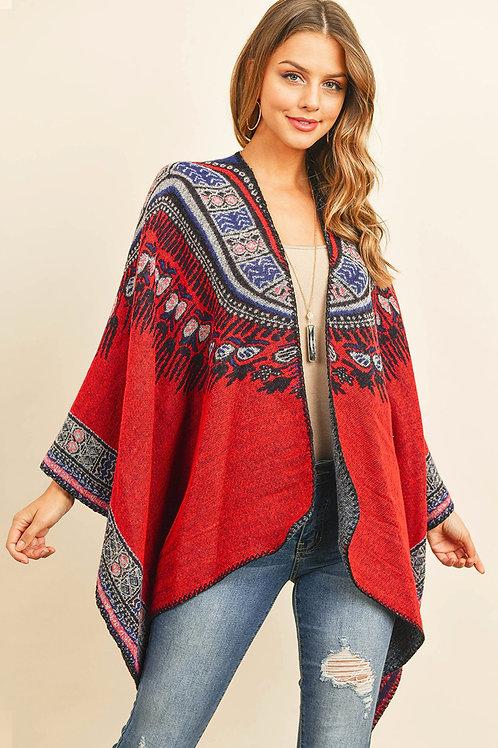 Hdf3143 - Native Pattern Open Front Kimono