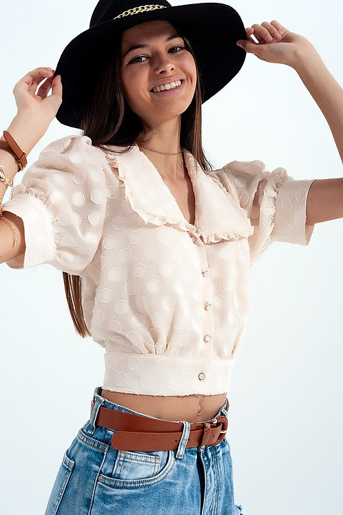 Beige Polka Dot Blouse With Bib Collar and Embellished Buttons