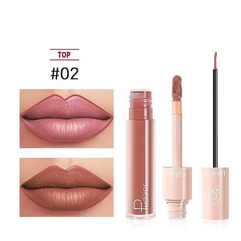 2020 New Pudaier Duo Lip Liner & Matte Liquid Lipstick - Color #02