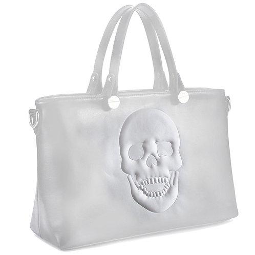 Mechaly Women's Skully White Vegan Leather Skull Handbag
