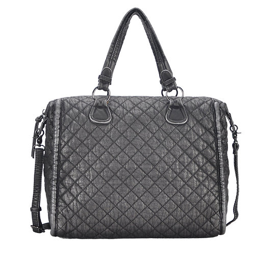 Mechaly Women's Estee Pewter Vegan Leather Shoulder Handbag