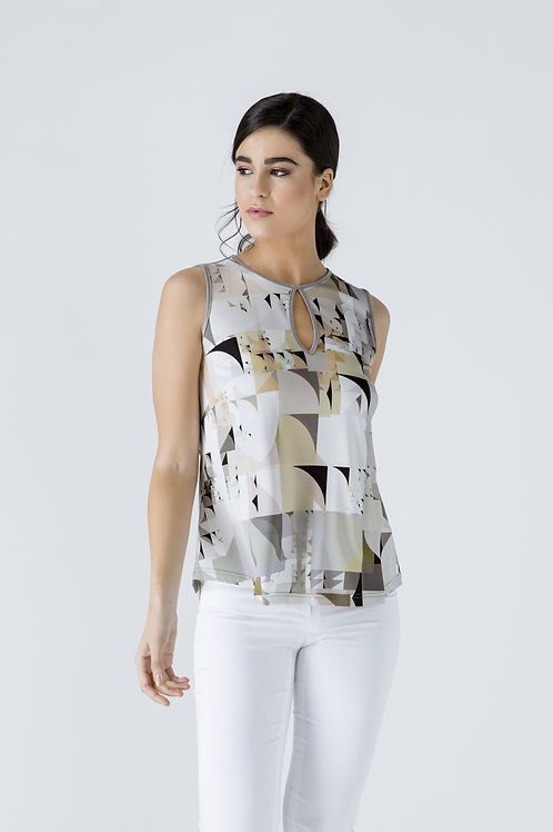 Taupe Keyhole Detail Print Top