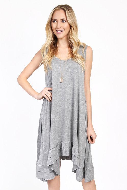 Ruffle Hem Sleeveless Dress