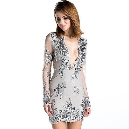 Natural Plunge Sequin Dress