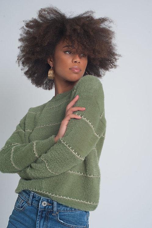 Fluffy Textured Knit Jumper in Khaki Twist