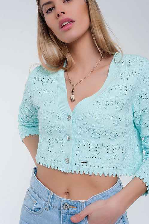 Turquoise Cardigan With Button Front in Crochet Knit