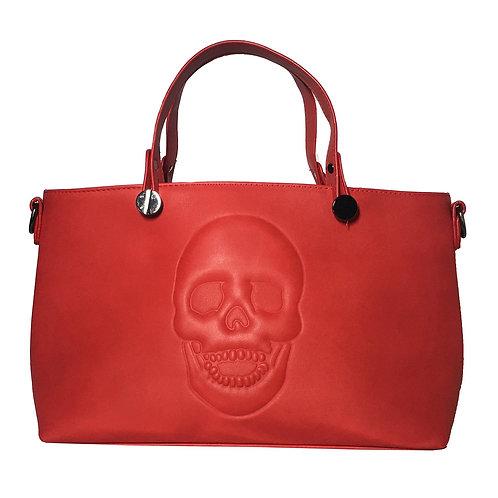 Mechaly Women's Skully Red Vegan Leather Skull Handbag