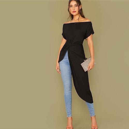 Black Off Shoulder Twist Front Asymmetrical Hem Bardot Top