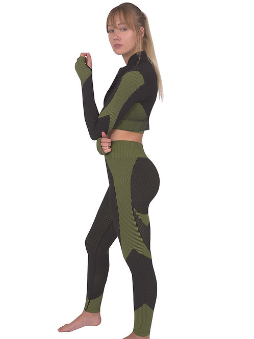 Trois Seamless Jacket, Leggings & Sports Top 3 Set - Black With Green