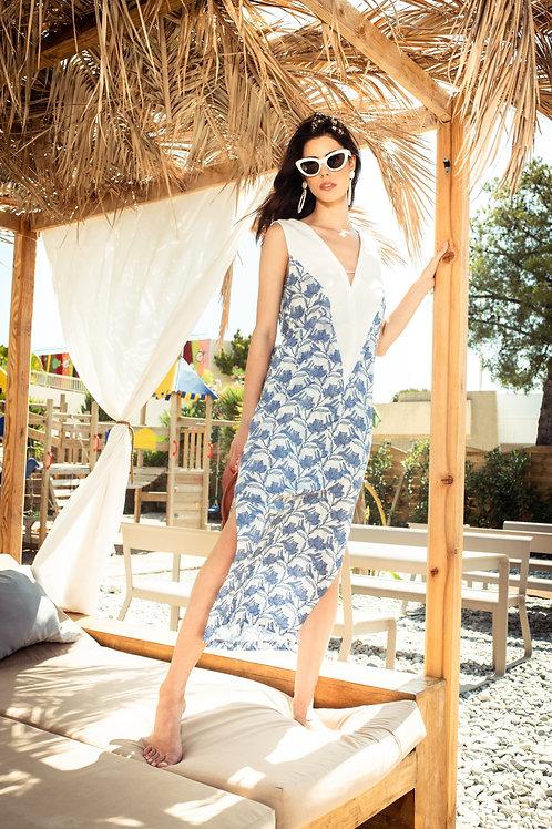 V-Neck Two Tone Long Beach Dress in Blue Biro