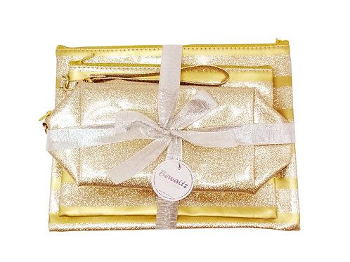 Glitter Makeup Bag Set - Gold