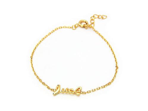 """Slender Cursive Luck Bracelet in 18k Gold Plated 925 Sterling Silver, 6"""" Long"""
