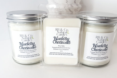 Blueberry Cheesecake Natural Soy Candle   Hand-Poured and Hand-Crafted