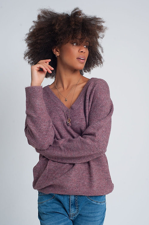Deep V-Neck Sweater in Purple