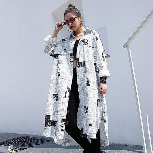 Toriko Newspaper Print Shirt Dress