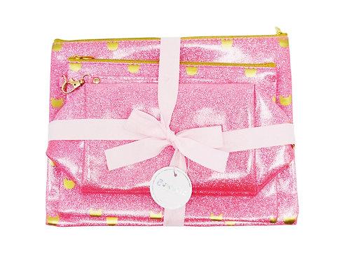 Glitter Makeup Bag Set - Pink