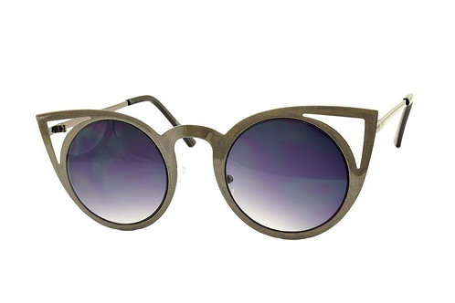 Grey Cateye Metal Sunglasses