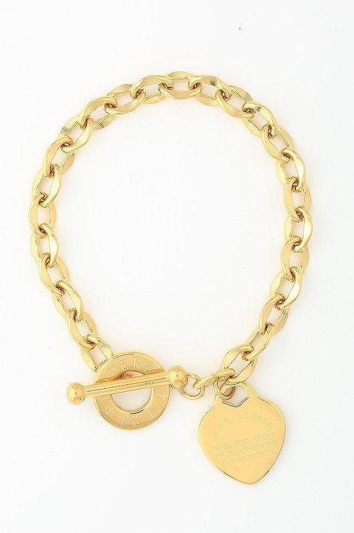 Kanika Heart & Cross Bracelet - Gold